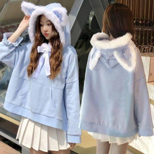 Cat Ears Hoodie with Ribbon