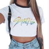 Stray Kids Autograph Printed Crop Top T-shirt