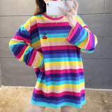 Kawaii Rainbow Striped Oversized T-Shirt