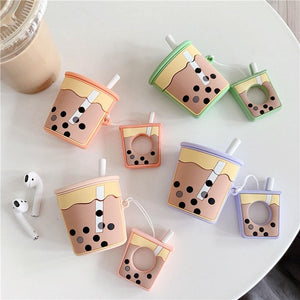 3D Boba Milk Tea Silicone Airpods 2 Case