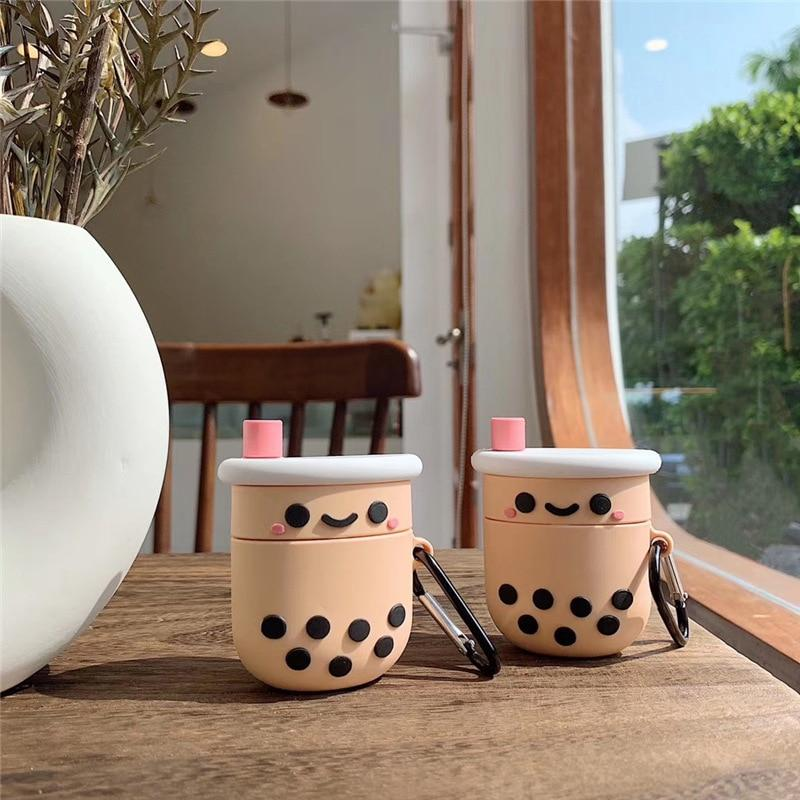 Milk Bubble Tea Drink Bottle Airpods 1 2 Cases