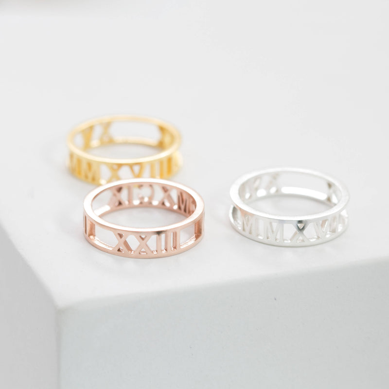 Personalized Roman Numeral Ring