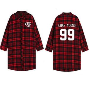 TWICE Three-Quarter Sleeve Plaid Shirt