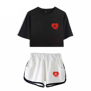 TWICE Heart Print Crop Top Shorts Set