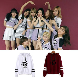 TWICE Harajuku Striped Sleeves Hoodie