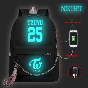 TWICE Chain Luminous USB Backpack