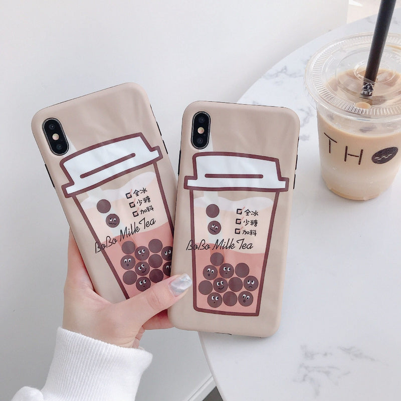 Fashion Bubble Milk Tea Phone Case for iPhone