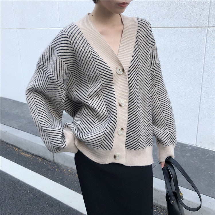 Striped V-Neck Knit Cardigan