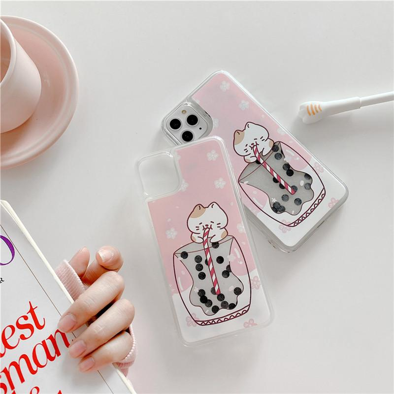 moskado Funny Cat Quicksand Phone Case For iPhone 11 X XR XS Max Soft TPU Back Cover For iPhone 7 8 7Plus Cute Milk Tea Cat Case