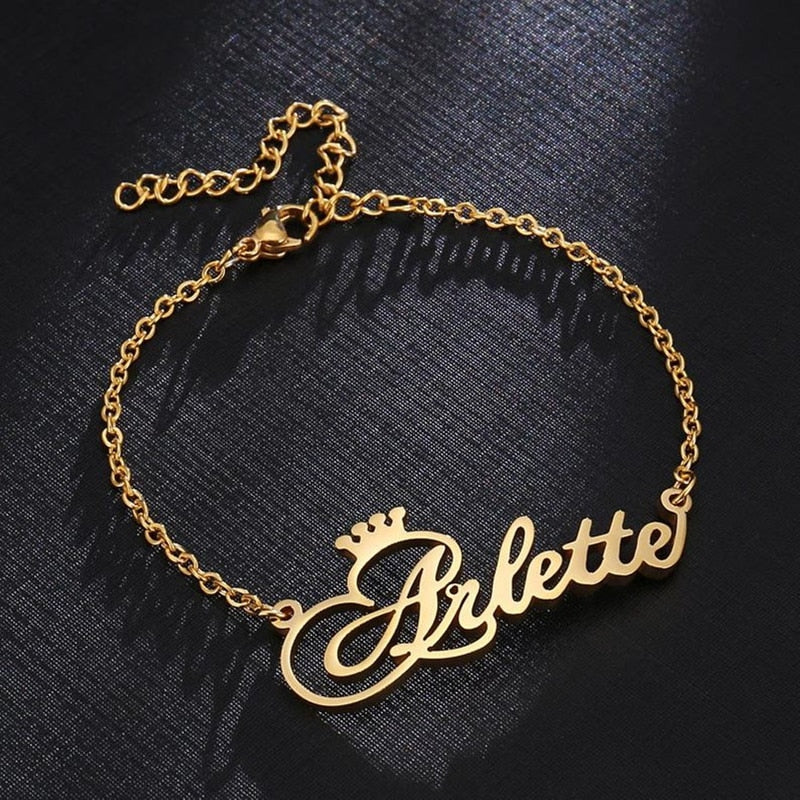 Personalized Crown Name Anklet