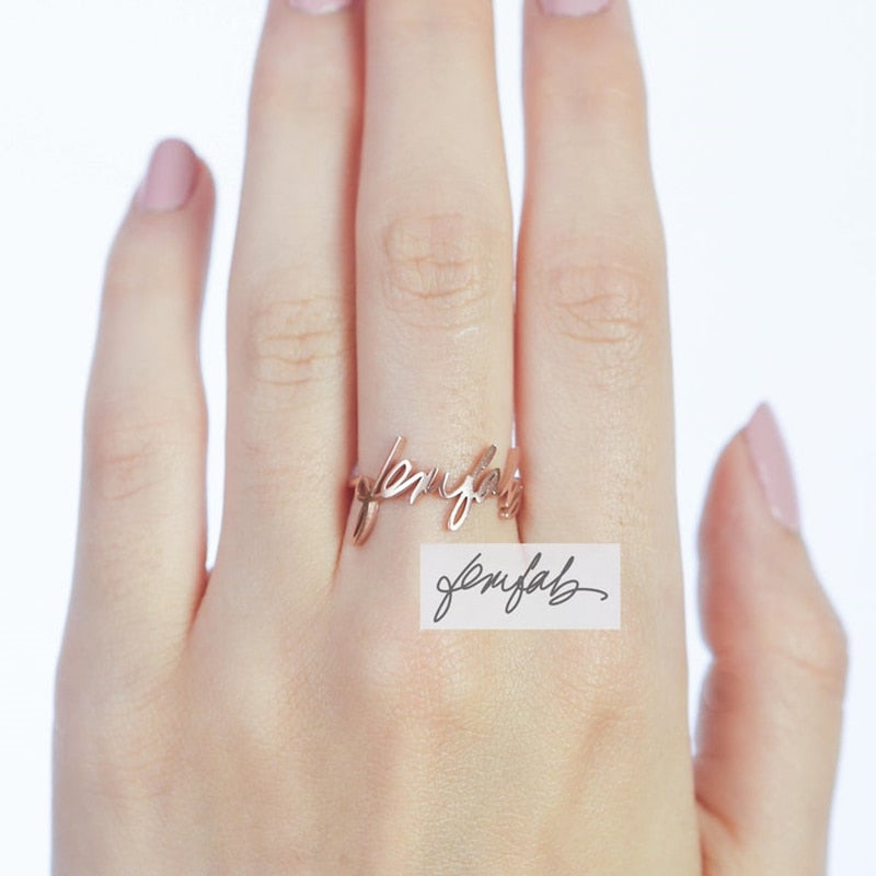 Personalized Signature Name Ring