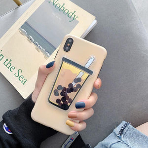 Squishy Liquid Quicksand Bubble Tea Phone Case for iPhone nad Huawei