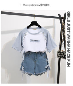 Sabrina Summer Girl Print T-shirt + Denim Short