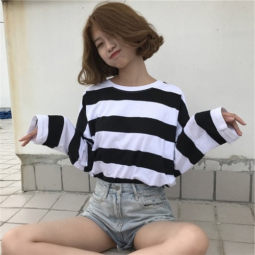 Korean Oversized Stripe Long Sleeve