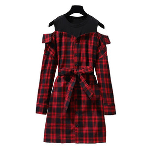 Krissa Korean Style Red Plaid Dress