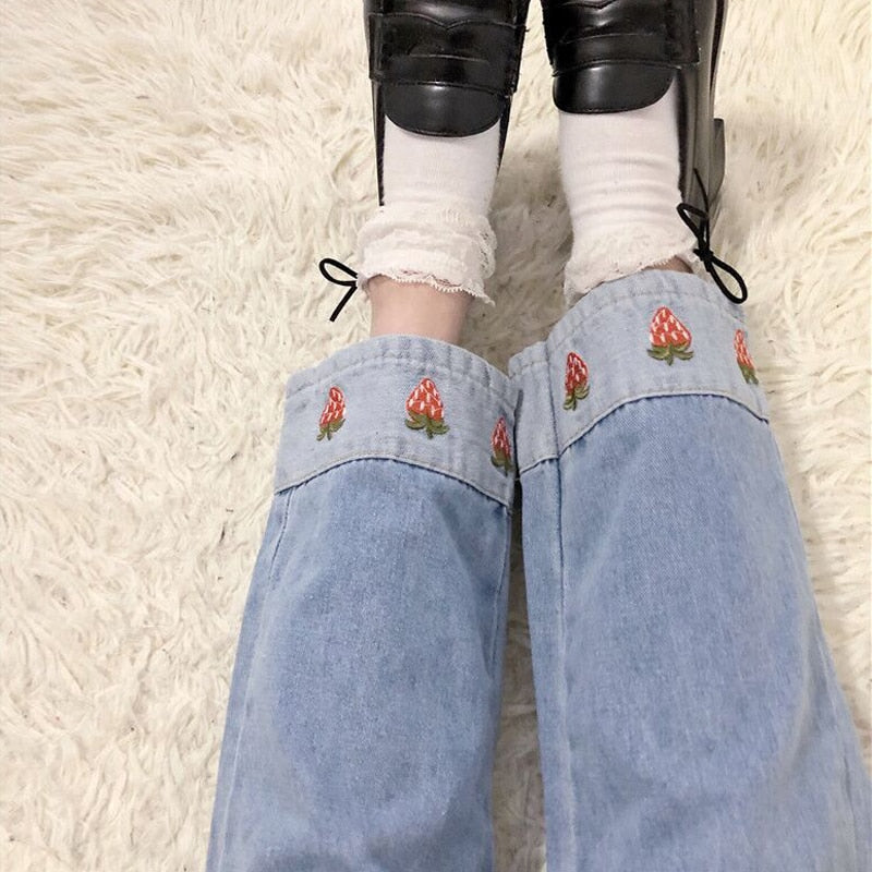 Strawberry Printed Patchwork Jeans