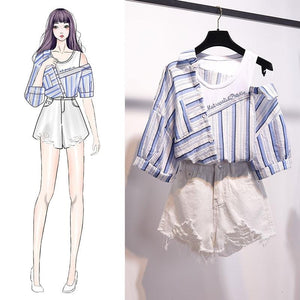 Selena Irregular Stripe Blouse + Jean Shorts