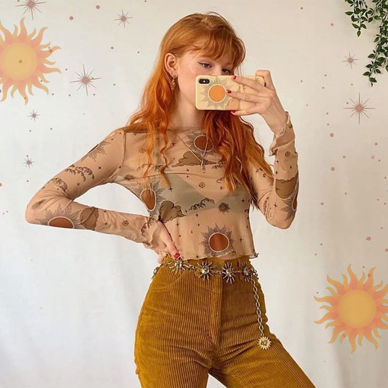 Sun And Moon Print Mesh Crop Top