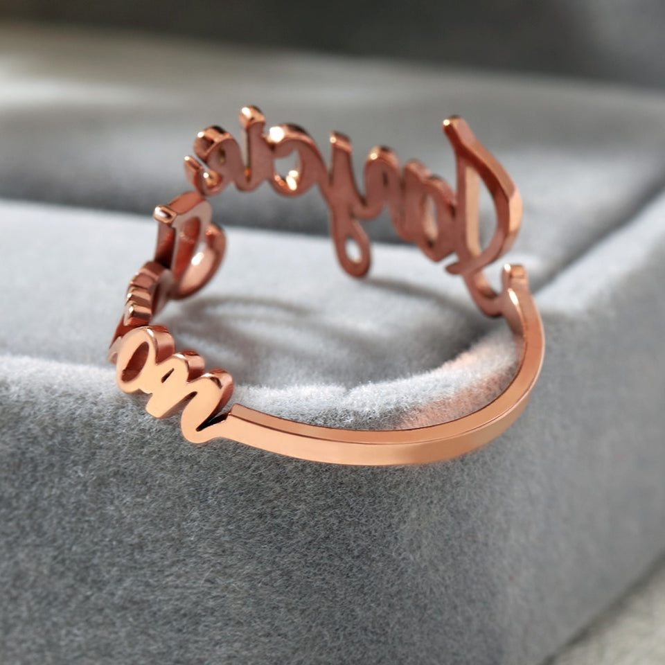 Personalized Two Name Ring