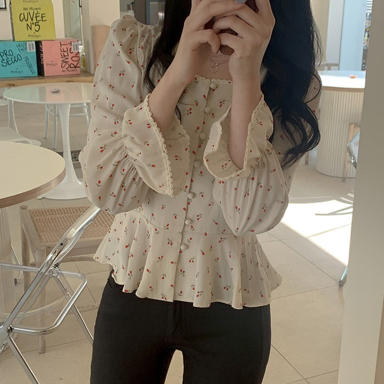 Chic Korean Square Collar Blouse