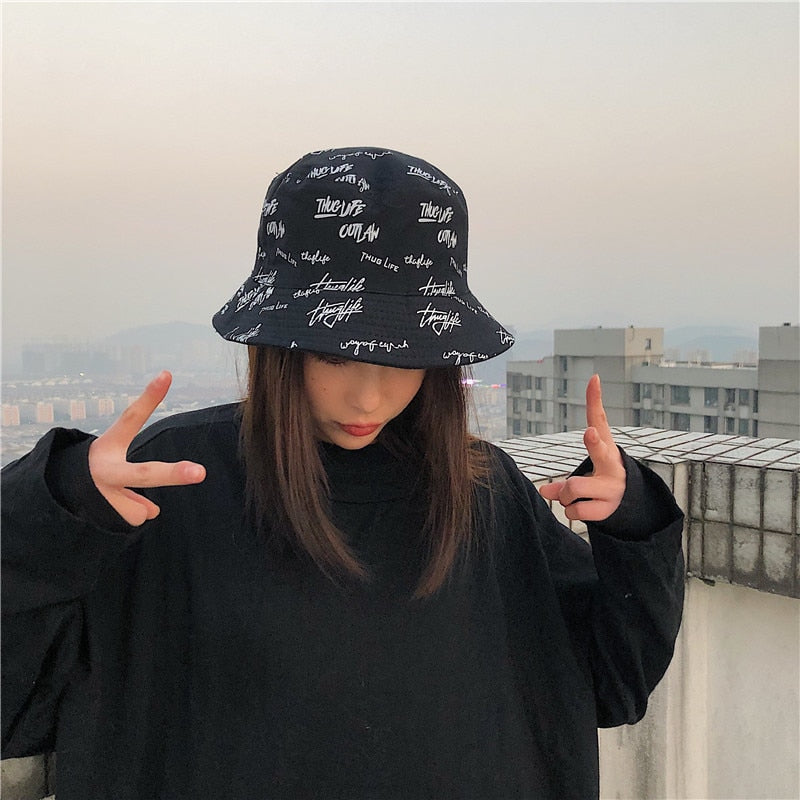 Double-sided Letter Print Fisherman Cap
