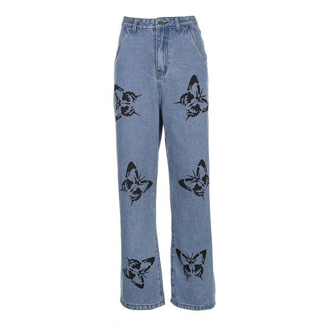 Butterfly Pattern Baggy Denim Pants