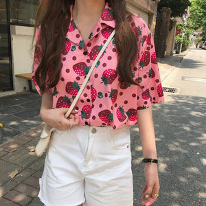 Strawberry Summer Turn-down Collar Top