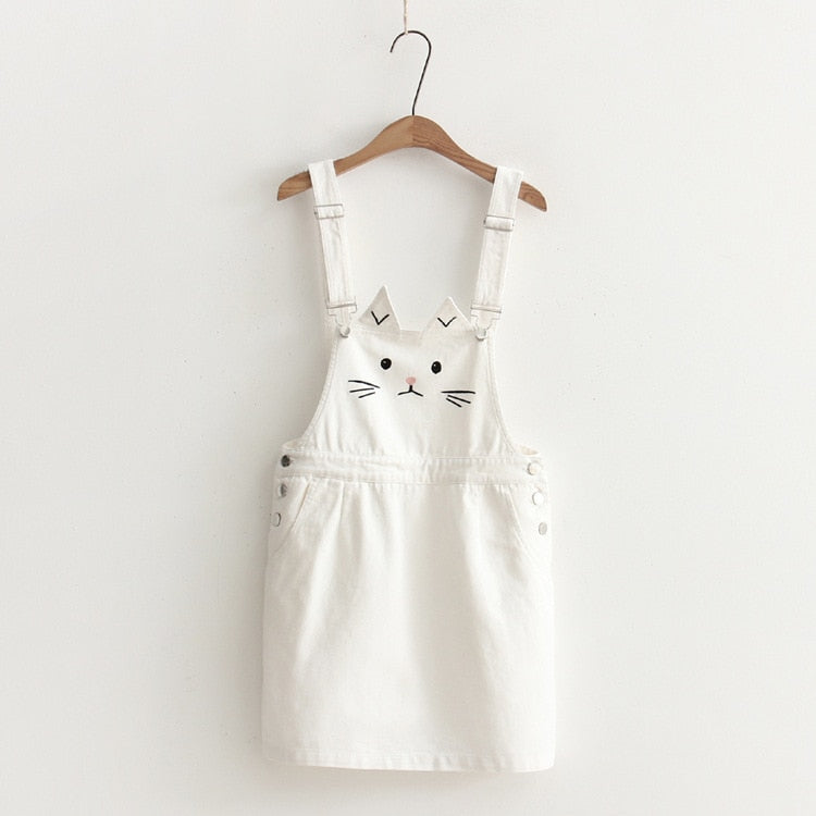Cat Denim Suspender Skirt