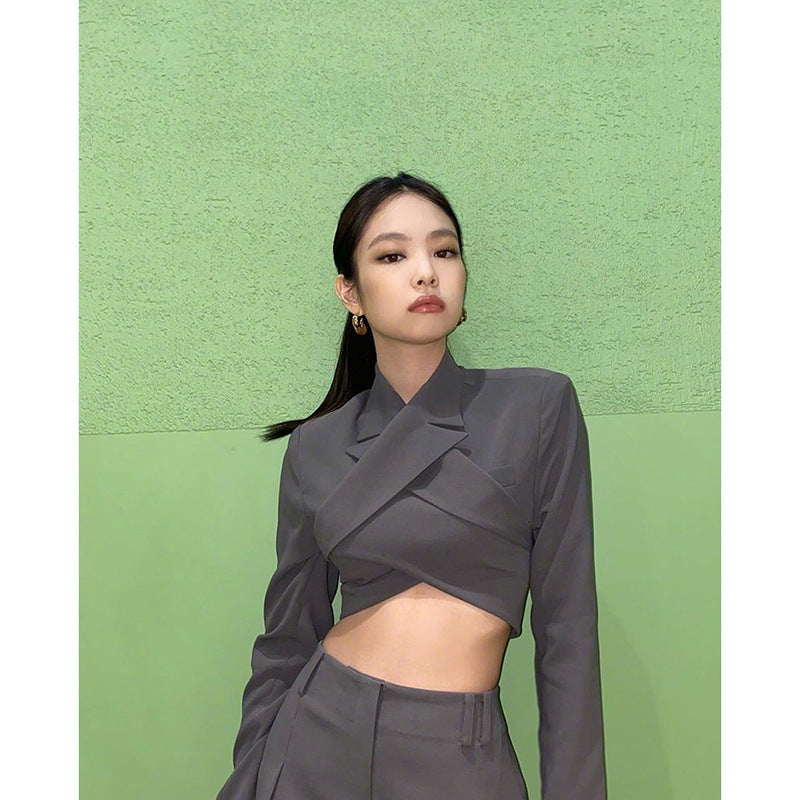 Jennie Sexy Backless Top + Loose Trousers