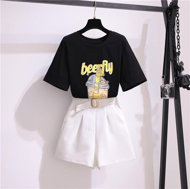 Stacey Korean Style Top And Shorts Set