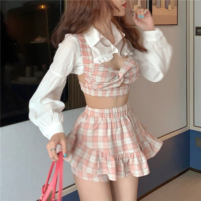 Korean Plaid Ruffles Three-Piece Set