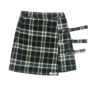 Vintage Preppy Style A-Line Plaid High Waist Skirt