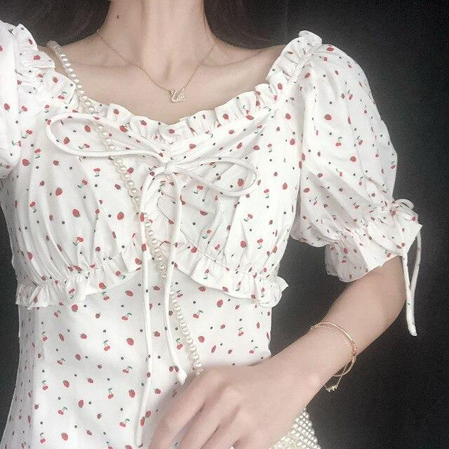 Korean Floral Lace Up Dress