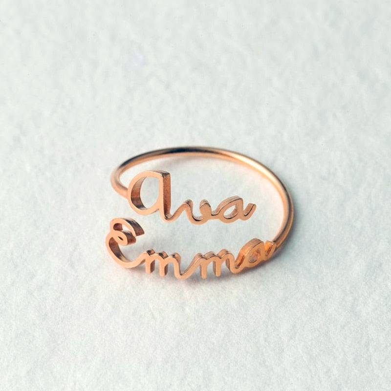 Personalized Cute Font Couple Name Ring