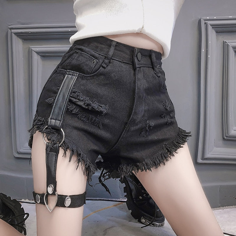 Punk Jean Patchwork Shorts