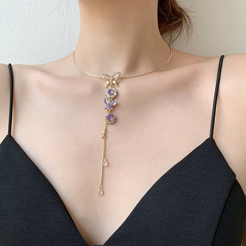 Korean Crystal Butterfly Round Chain Choker