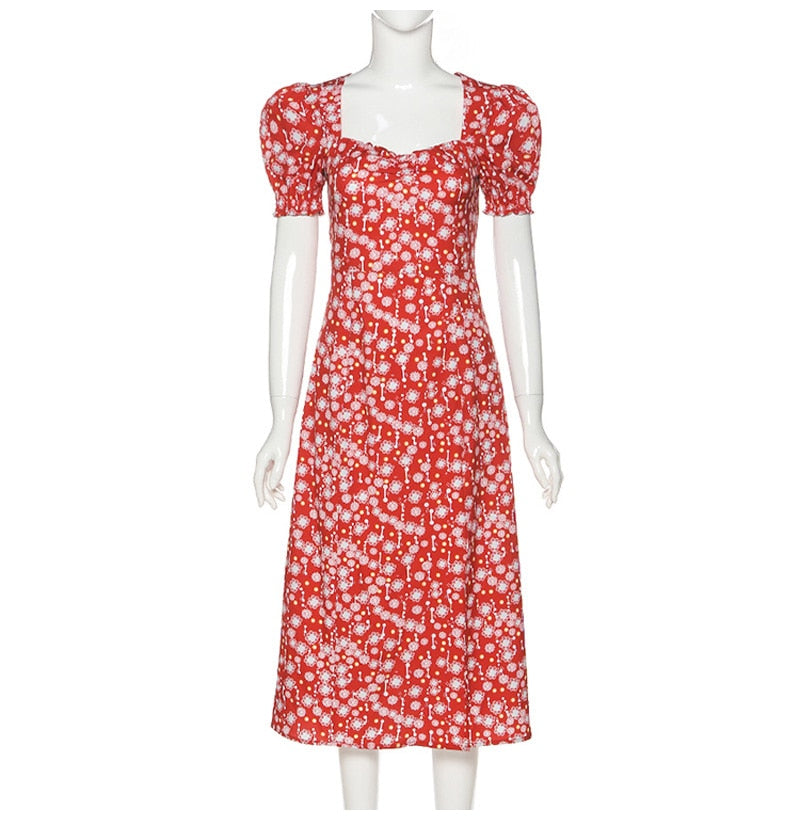 Vintage Square Collar Summer Dress