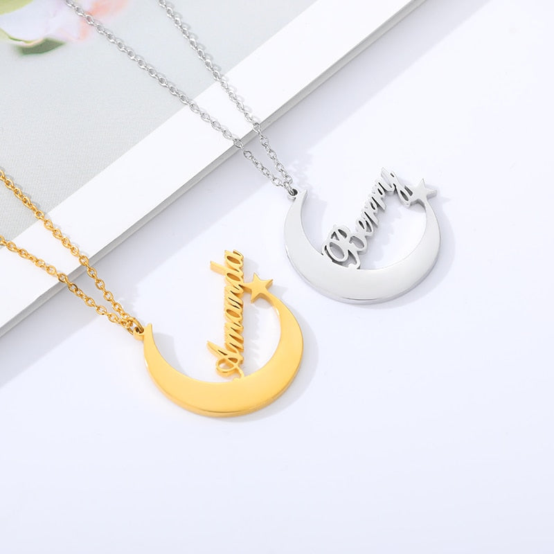 Personalized Dainty Moon Star Necklace