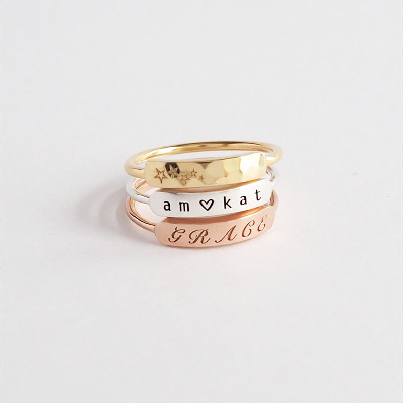 Cute Short Bar Engraved Name Ring