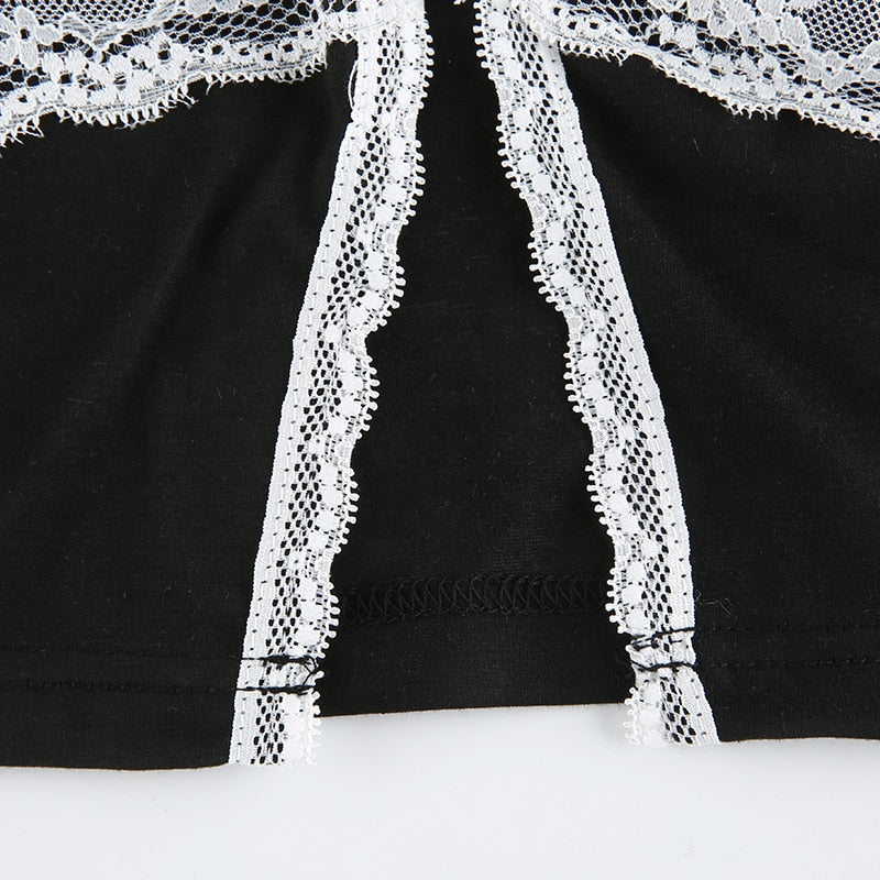 Lace Edge High Split Sexy Crop Top
