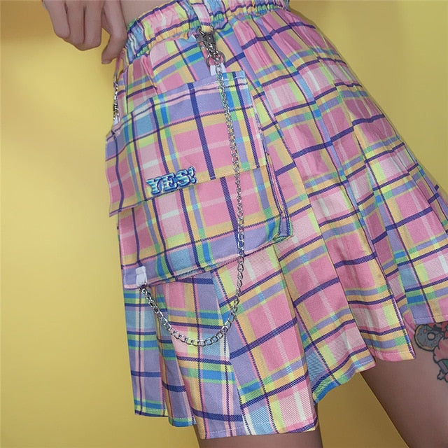 High Waist A-line Pleated Rainbow Skirt