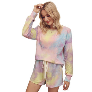 Tie-dye Winter Pullover And Short Pajamas