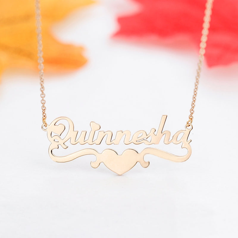 Personalized Double Ribbon Heart Necklace