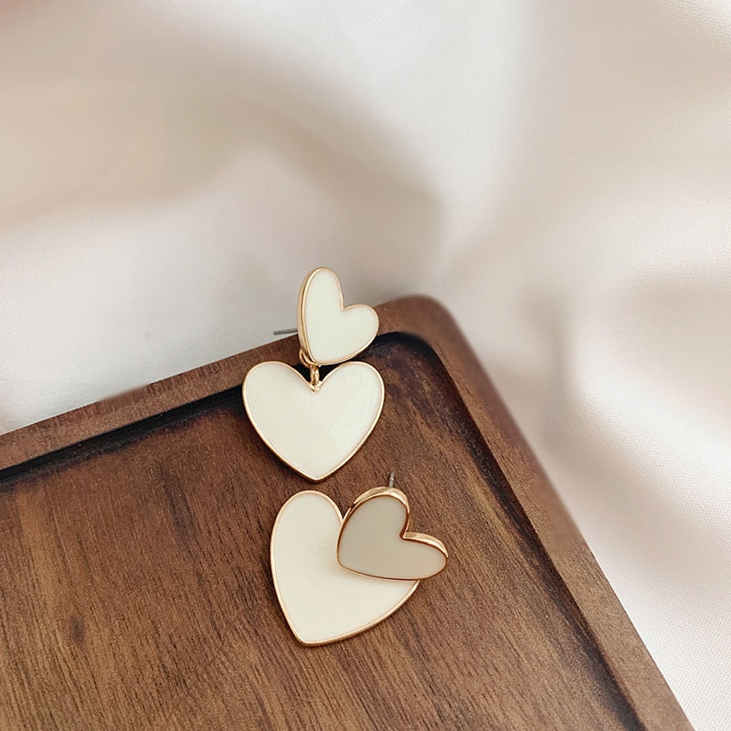 Double Heart Korean Drop Earrings