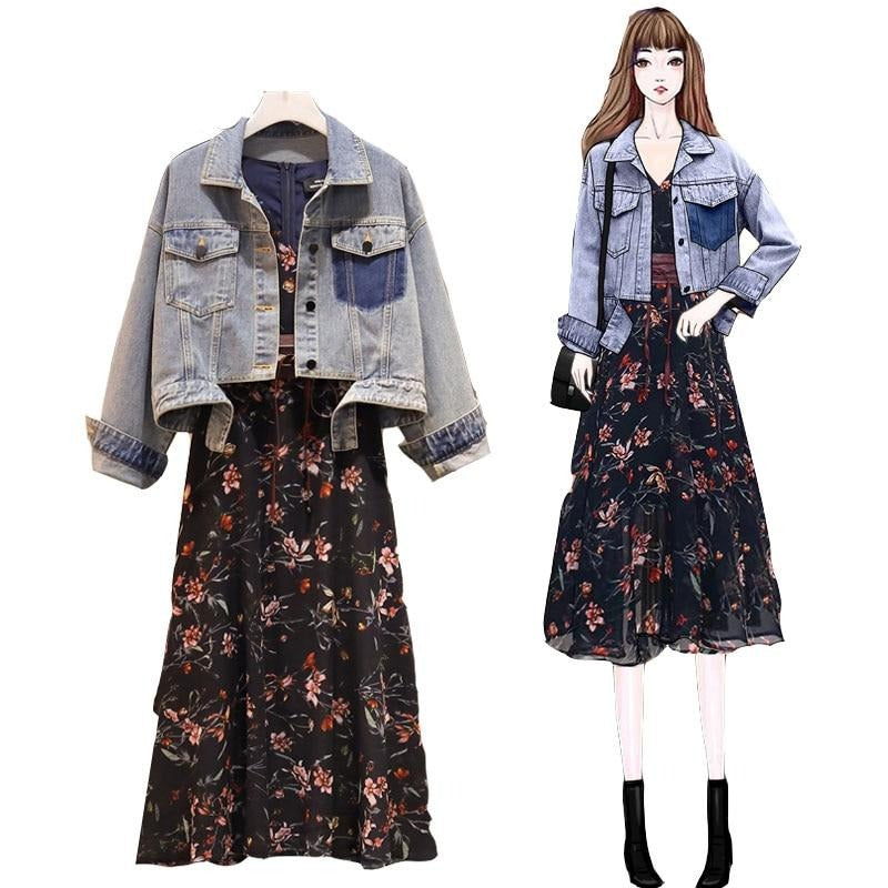 Shelly Spring Cowboy Coat Top + A-line Dress