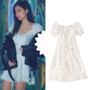 Blackpink Jennie White Mini Dress