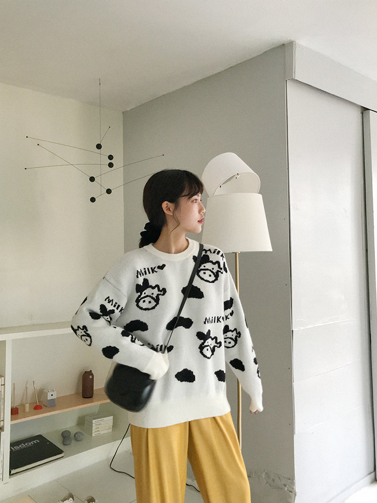 Cow Design Kintted Sweater