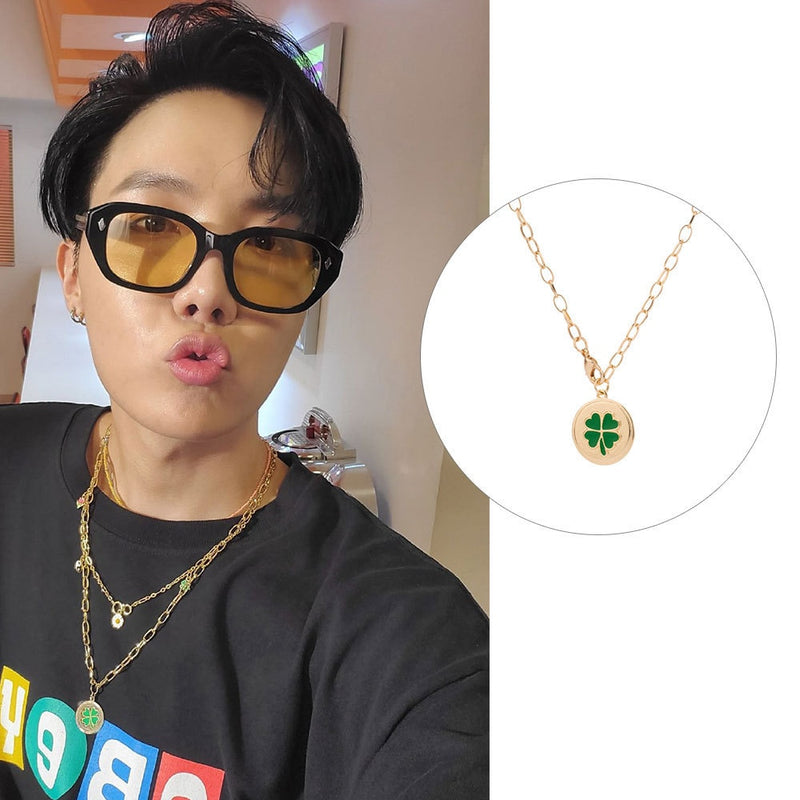 Kpop Style Green Clover Pendant Necklace