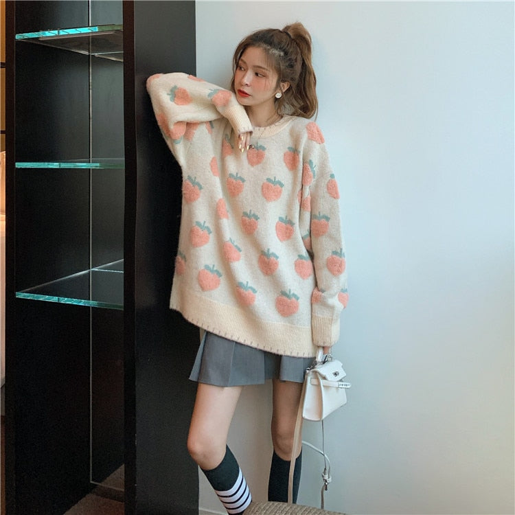 Cute Strawberry Knitted Sweater