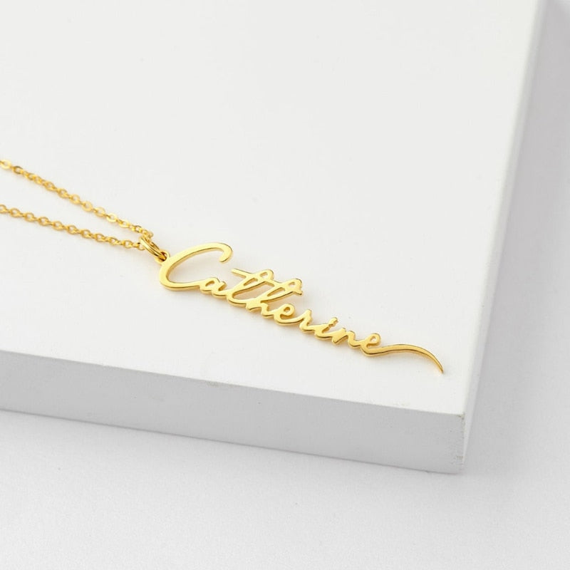 Personalized Signature Vertical Name Necklace